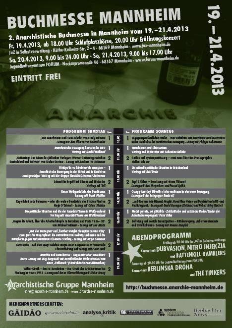 Plakat zur 2. Anarchistischen Buchmesse in Mannheim